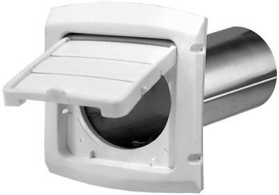 4 In. Hinged Vent Hood White Dryer Exhaust Louver Cover/Guard Outdoor Pipe-Cap