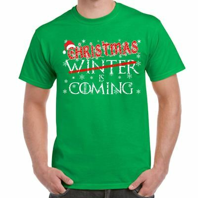 Mens Funny Printed T Shirts-Xmas festive Winter is Coming Game of Thrones tee