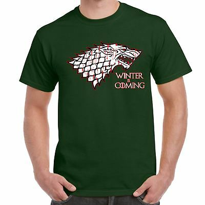 Mens Funny T Shirts-Winter is Coming-House Starks sigil Game of thrones Inspired