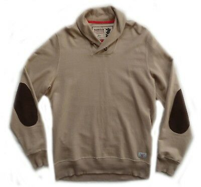 """Superb Barbour Steve Mcqueen """" Shawl """" Elbow Patches Jumper  - Large - Vgc £145"""