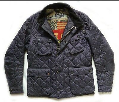 "Superb Barbour Steve Mcqueen "" Bariel "" Quilted Biker Jacket  - Small - Vgc £195"