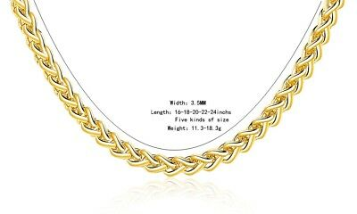 UK Top GOLD 16'' - 30'' 3.5 MM Spiga man lady NECKLACE CHAIN GRADE A
