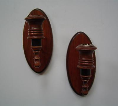 "Vtg 2 Wood & Black Metal Wall Sconces Pair 8"" Oval Home Interiors / Homco"