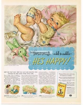 1937 Cream Of Wheat Cereal Cute Baby art by Maud Tousey Fangel Vtg Print Ad