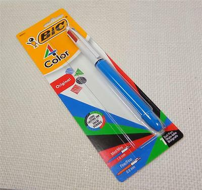 BIC® 4-Color™ Retractable Ballpoint Pen, Medium Point, 1.0 mm, Blue Barrel