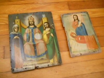 Russian Orthodox Icons Antique Painted on Boards