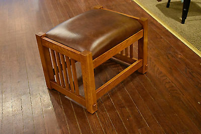 Arts and Crafts Mission Oak Footstool Prairie style Craftsman Ottoman Foot Stool