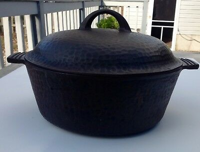 Antique Cast Iron Hammered Dutch Oven With Lid Heat Ring Chicago Hardware 88B