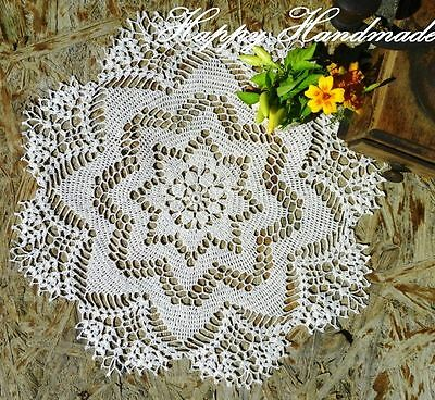 HaHa Large White Linen Crochet 42cm (16,5'') Round Doily / wedding/made-to-order