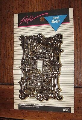 American Tack ~ STYLE Cast Metal Vintage Gold Floral Light Switch Wallplate NEW