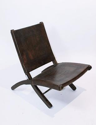 Rare Vintage 1970 'hungarian  Mid Century Modern   Leather Folding Lounge Chair