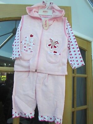 Baby Girls Three Piece Outfit In Pink 6-12 Months Brand New