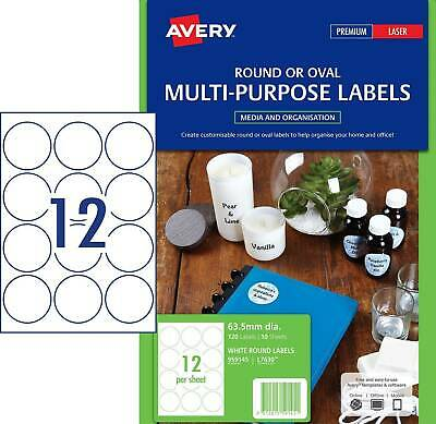 Avery L7630 Printable Round Labels 12 Per Page 63.5mm  10 Pack- 959145