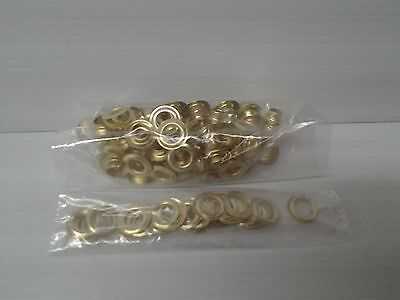 """100 #2 (3/8"""")  Brass Self Piercing Grommets & Washers  use by hand or machine"""