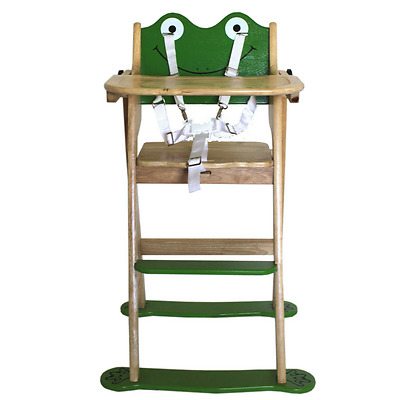 Wooden High Chair Frog Baby Toddler Highchair Feeding Time NEW Q Toys