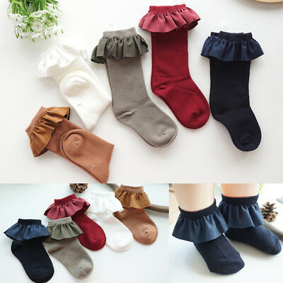 Girls Children Kids Toddlers Vintage Style Frilly Ankle Knee School Socks (2-8Y)