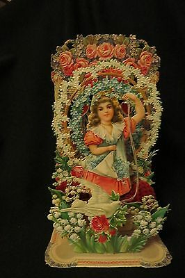 Vintage VICTORIAN Girl & Dove Valentine card c. early 1900s GERMANY DIMENSIONAL