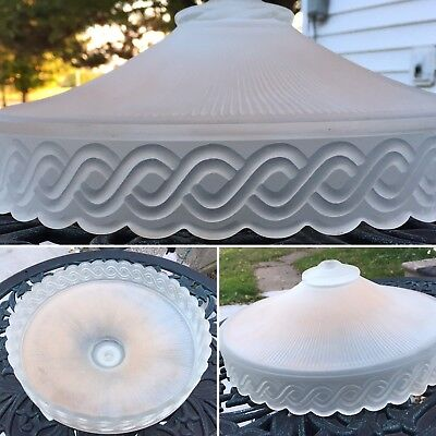 Victorian Frosted Pink Milk Glass Ceiling Light Shade Mount Fixture Light Cover