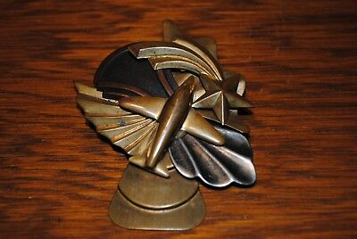 Art Deco 3 Metal Brass, Copper and Silver Pin Airplane and Shooting Star