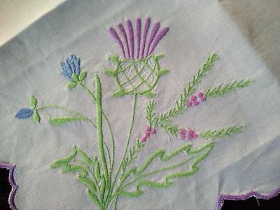'Oh Bonnie Scotland' Thistles/Heather/Harebells ~ Vintage Embroidered Tablecloth