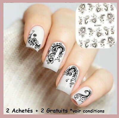 ❤️nouveau (20)Stickers Dentelle Bijoux Ongles Water Decals Stickers Nail Art