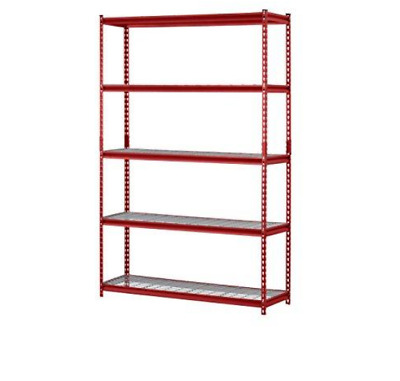 Red Muscle Steel Shelving Rack 5-Shelf Steel Garage Storage Wire Shelving Unit