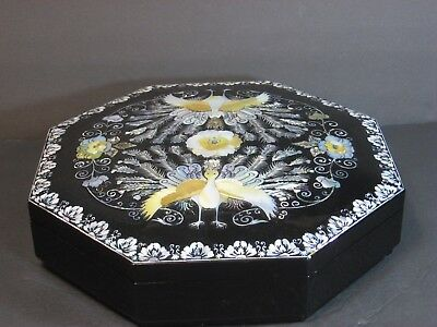 Black Lacquer Mother Of Pearl Inlay Large Octagon Box Peacock/floral, Korea Vtg!