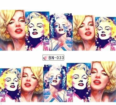 ❤️Nouveau Stickers Marylin Monroe Bijoux Ongles Water Decals Nail Art Manucure