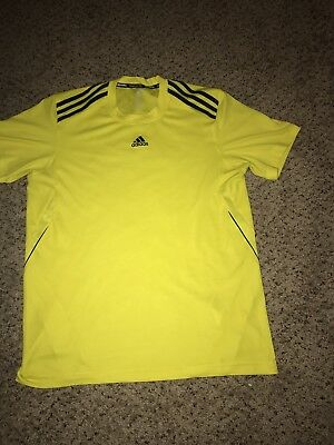 Adidas Large Men's Climalite Ultimate Short Sleeve Tee Yellow Black Athletic Run