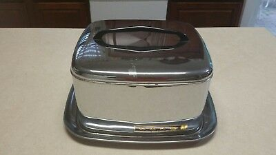 Vintage Cake Carrier Art Deco Chrome Lincoln Beauty Ware USA Quality