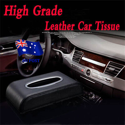 PU Black leather Car Tissue Napkin Box Cover Papers Holder Home Office Bar EA