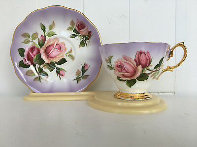 Stunning! Royal Albert Pink Roses with Purple/Background Teacup & Saucer  (256)