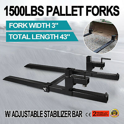 "43"" Clamp on Pallet Forks w/ Stabilizer Bar 1500lb Heavy duty HD Skidsteer USA"