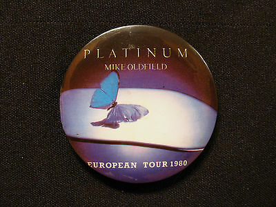 Mike Oldfield Large Vintage Button Badge Pin Uk Import European Tour 1980