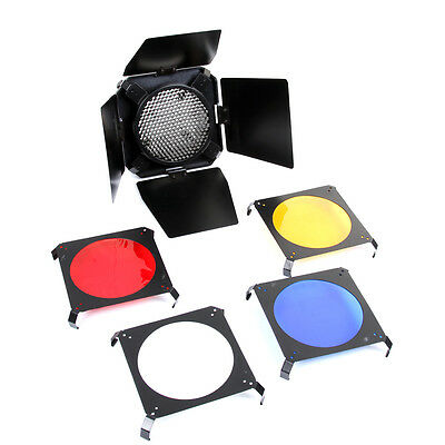 Barn Door & Honeycomb Grid + 4x Color Gels Filter for Flash Photo Studio Strobe