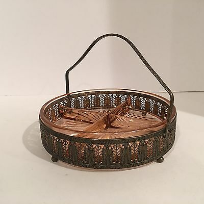 Vtg M W C & Co filigree basket tray w/ divided pink depression glass insert