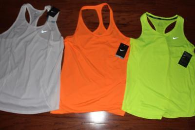 Lot Of 3 Nike Dri-Fit Womens Running Tank Tops Training Yellow Orange Large Nwt