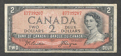 1954 DEVIL'S FACE $2.00 BC-30b F Very SCARCE Bank of Canada OLD DF Two Dollars