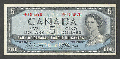 1954 DEVIL'S FACE $5.00 BC-31b F+ Very SCARCE Bank of Canada OLD DF Five Dollars