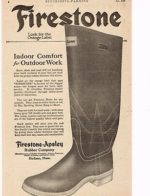 "Vintage 1923 FIRESTONE-APSLEY RUBBER WORK BOOTS Original Ad, 8"" x 11"""