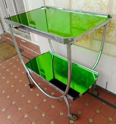 c.1910s Scarce Art Deco S/Steel Green Glass Mirror Topped Drinks Trolley Rd1367