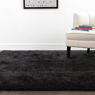 Luxury Large Shaggy Shag Floor Rug Black Soft Non shed Thick & Thin Pile 190x280