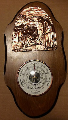 Vintage French Baromaster Barometer on Wood and Copper Wall Display Board