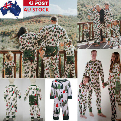 AU Family Matching Nightwear Jumpsuit Christmas Tree Pajamas Set Xmas Sleepwear