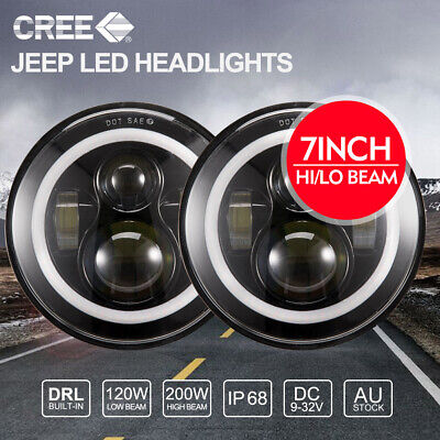 Pair 7 inch 200W CREE Round LED Headlights DRL Jeep Wrangler TJ JK 97-17