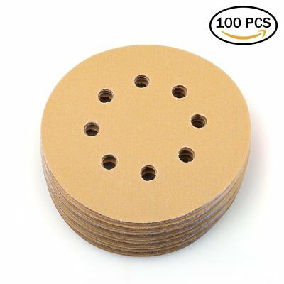 100X 5'' 320 Grit Hook Loop Sanding Disc Orbital Sander Sandpaper Dustless Sheet