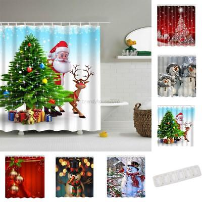 AU Christmas Waterproof Polyester Bathroom Shower Curtain Decor With Hooks