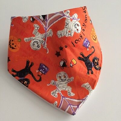 Skeletons & Cats Halloween Orange Handmade Bandana Bib Baby Toddler Dribble