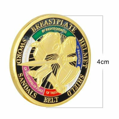 Gold Plated Put on Challenge Coin Token the Whole Armor of God Commemorative