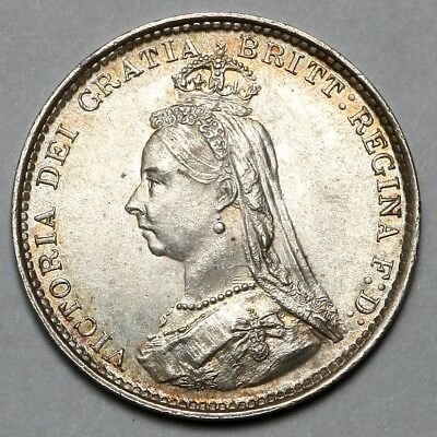 1887 Queen Victoria Great Britain Silver Threepence Three Pence 3D Coin